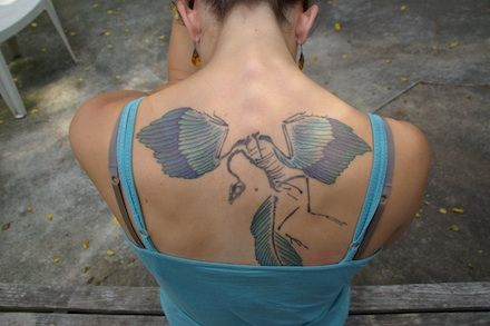 Girl Show Upper Back Science Biology Tattoo