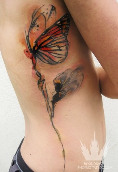 Girl Showing Her Nice Rib Side Monarch Butterfly Tattoo