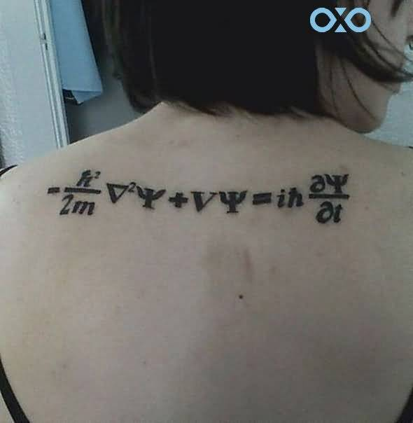 Girl Showing Her Schrodinger Equation Physics Tattoo
