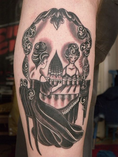 Girl Skull Mirror Piano Keys Tattoo Design
