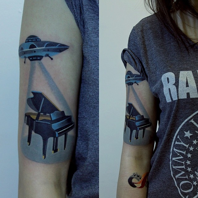 Girl Sleeve Nice And Amazing Grand Piano Tattoo Design Idea