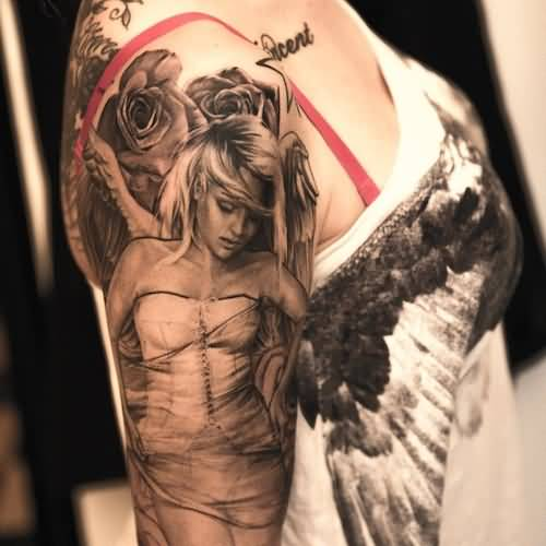 Girl Sleeve Pin Up Angel Girl Tattoo Design