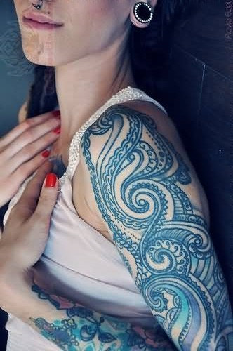 Girl Sleeve With Amazing Paisley Pattern Tattoo
