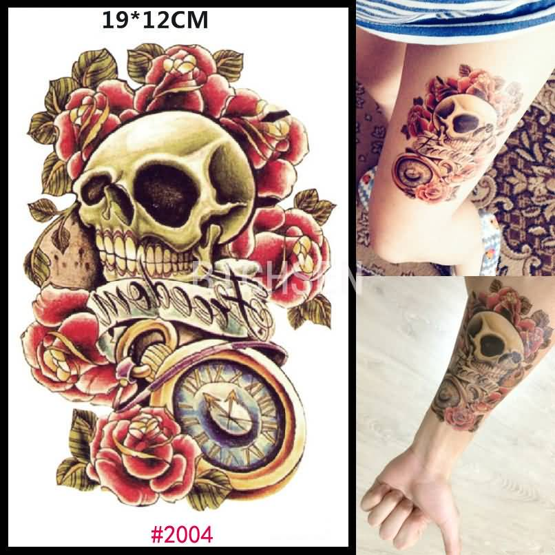 Girl Thigh And Wrist Old School Punk Skull Tattoo