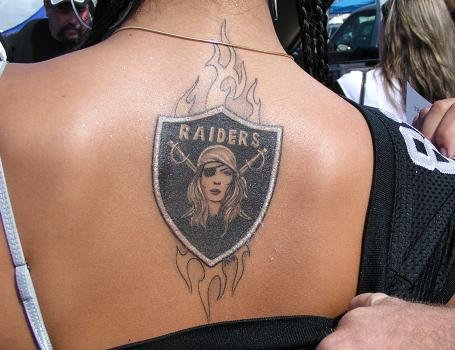 Girl Upper Back Flame Amazing Oakland Raiders Tattoo