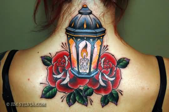 Girl Upper Back Lantern With Rose And Candle Tattoo