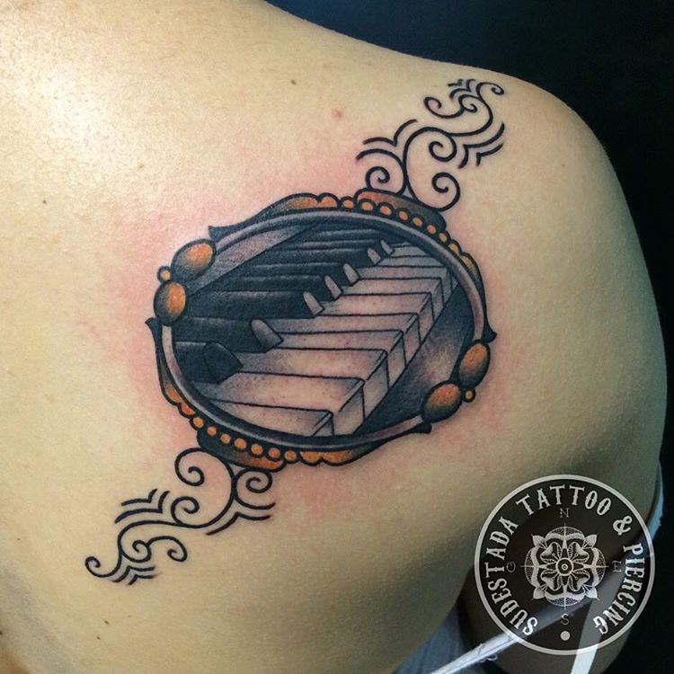 Girl Upper Back Nice And Amazing Piano Keys Tattoo Design Idea