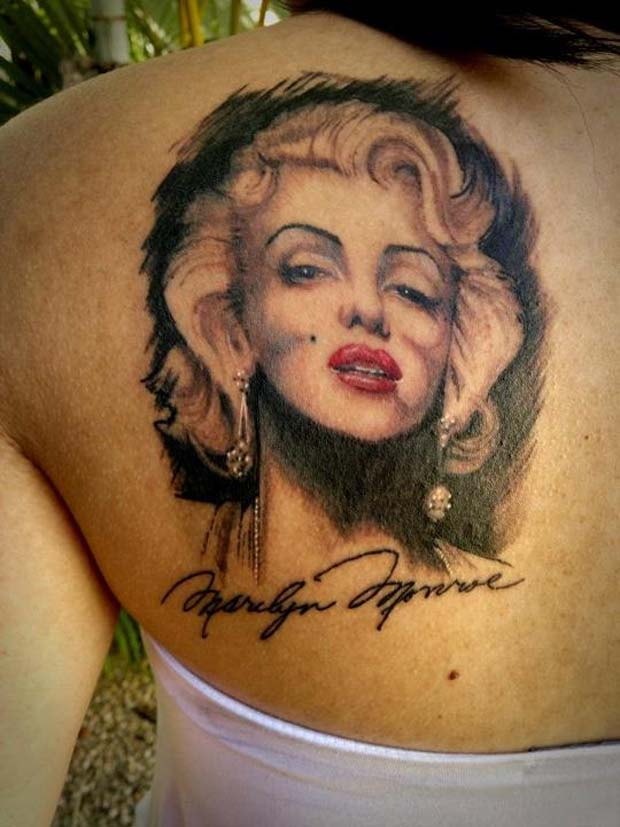 Girl Upper Back Nice Marilyn Monroe Girl Face Tattoo