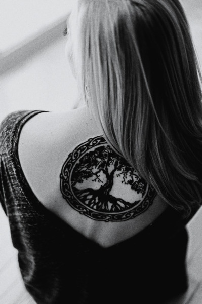 Girl Upper Back Nice Pegan Tree Tattoo