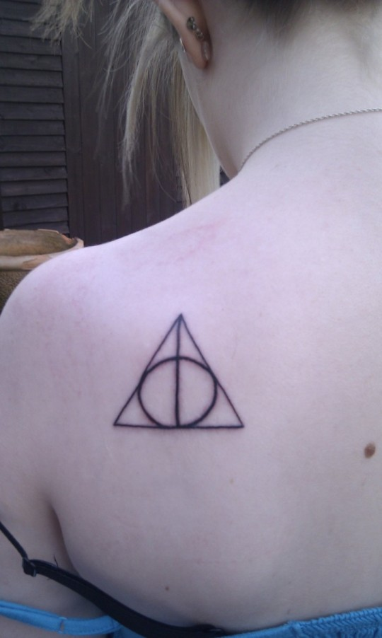 Girl Upper Back Simple Hallows Tattoo
