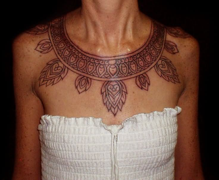 Girl With Amazing Aztec Necklace Tattoo Design Idea
