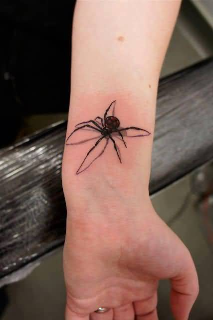 Girl Wrist Awesome 3D Black Widow Spider Tattoo