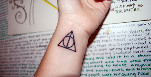 Girl Wrist Black Ink Nice Deathly Hallows Tattoo