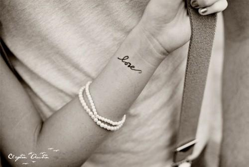 Girl Wrist Nice Love Text Tattoo