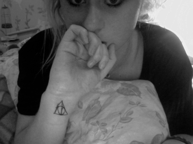 Girl Wrist Simple Hallows Tattoo