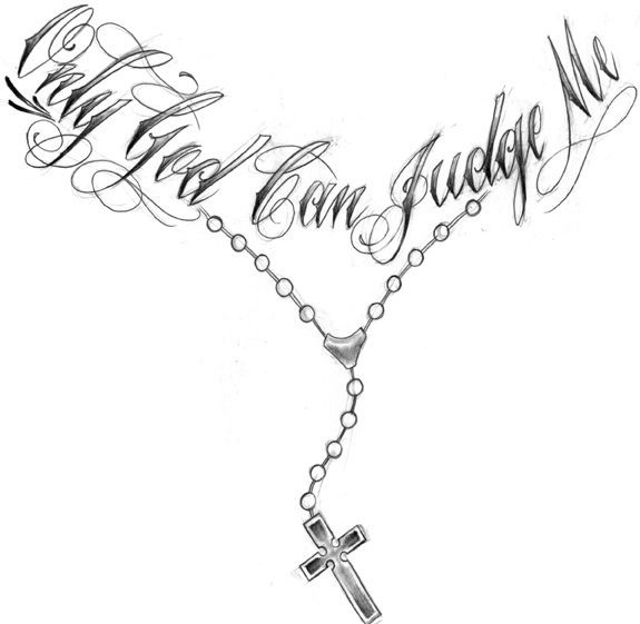 God Letter With Cross Necklace Chain Tattoo