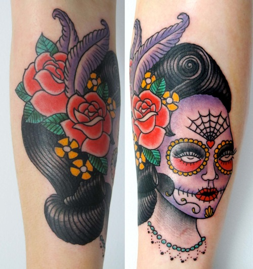 Great And Nice Design Of Catrina Girl Face Tattoo