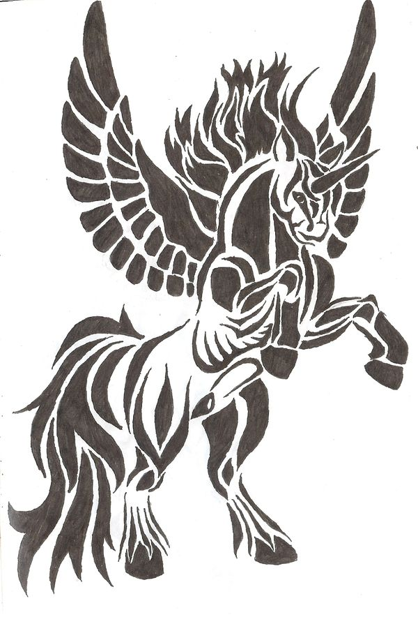 Great And Nice Pegasus Tattoo Design Stencil