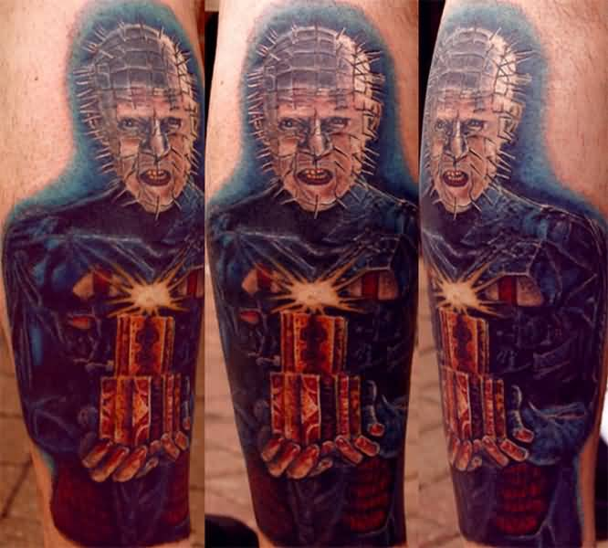 Great And Nice Pinhead Face Tattoo Design