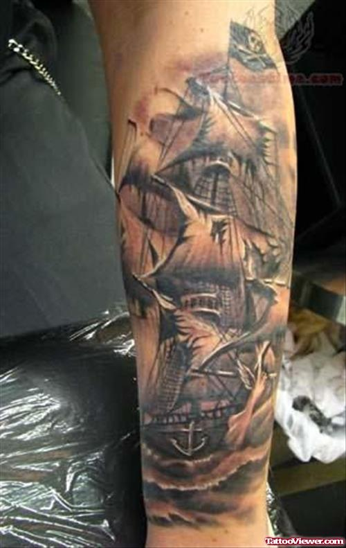 Great And Simple Jolly Roger Pirate Ship Tattoo
