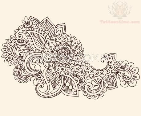 Great Nice Paisley Pattern Flower Tattoo