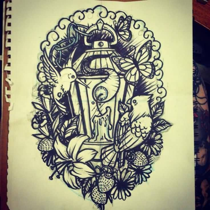 Great Sketch Of Terrific Antique Lantern Tattoo