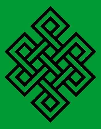 Green Background Black Ink Endless Knot Tattoo Design