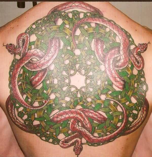Green Celtic Escher With Scary Red Snakes Tattoo On Upper Back
