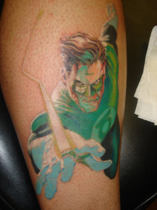 Green Flying Lantern Men Tattoo
