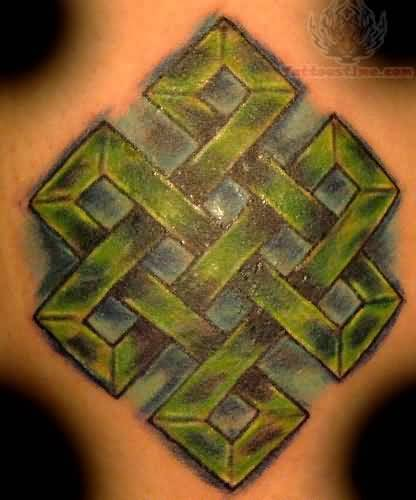 Green Ink Awesome Endless Knot Tattoo Design For Back