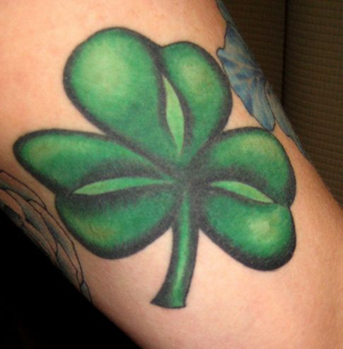 Green Ink Heart Shamrock Tattoo Design Idea