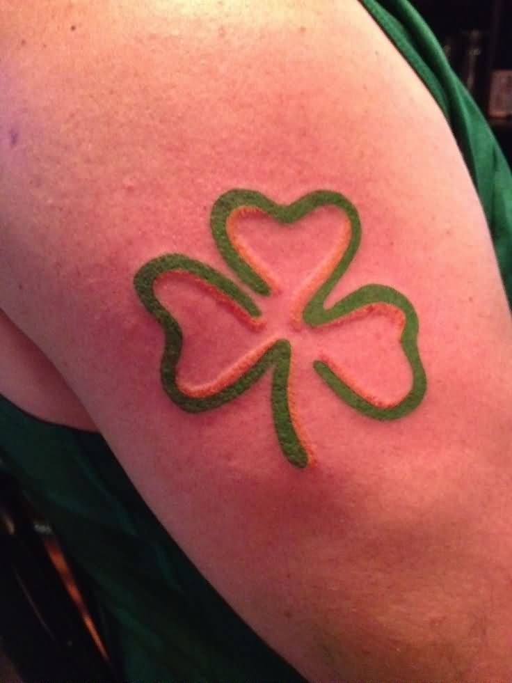 Green Ink Nice Shamrock Clover Tattoo On Shoulder