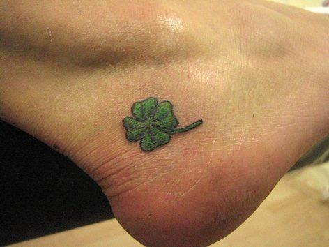 Green Ink Nice Shamrock Tattoo Design On Ankle