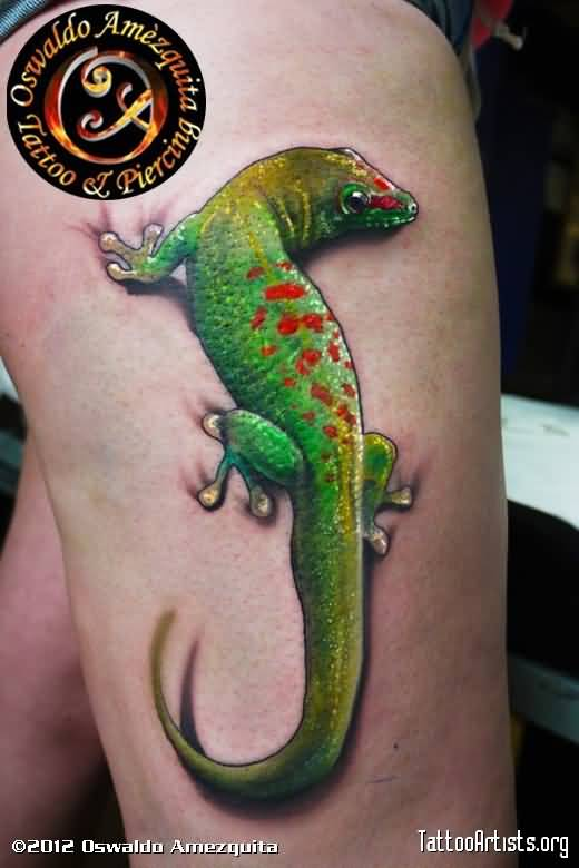 Green Ink Outstanding Salamander Tattoo Design Idea On Thigh