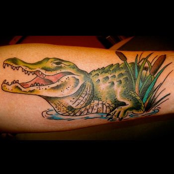Green Open Mouth Reptile Alligator Tattoo