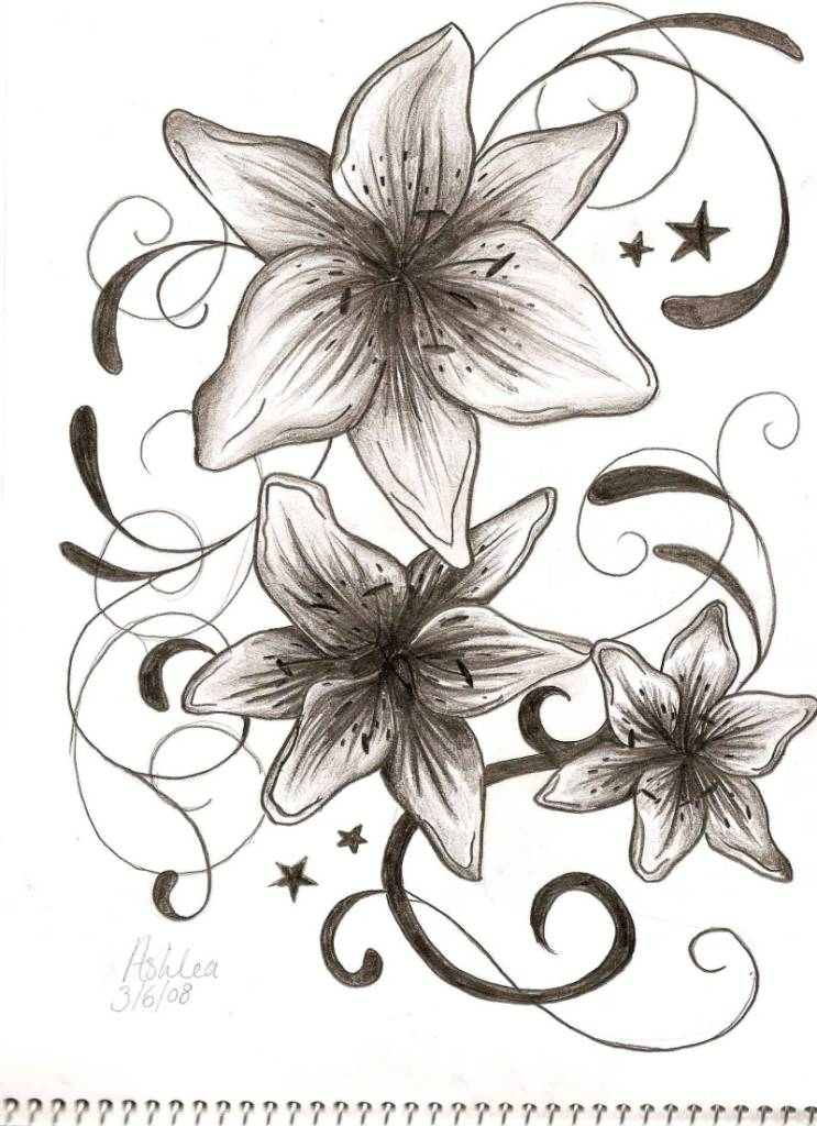 Grey And Black Ink Nice Gladiolus Flower Tattoo On Paper