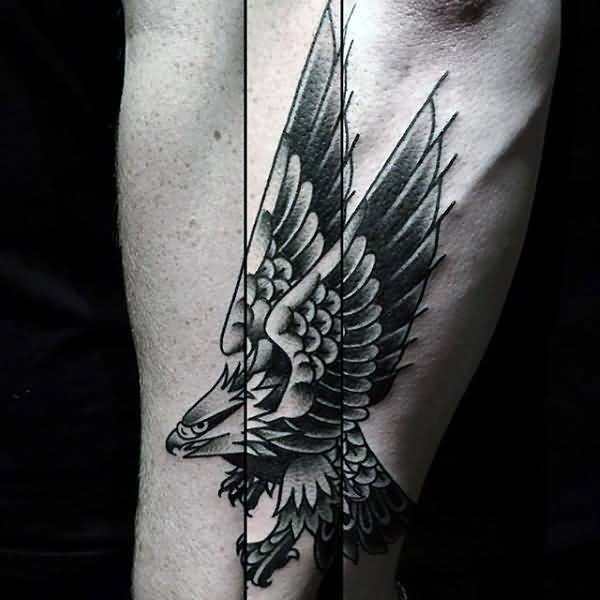 Grey And Black Old School Flying Eagle Tattoo Design