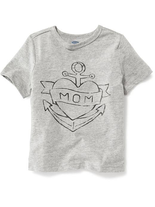 Grey Color T-Shirt Cover With Nice Mom Banner Anchor Old Tattoo