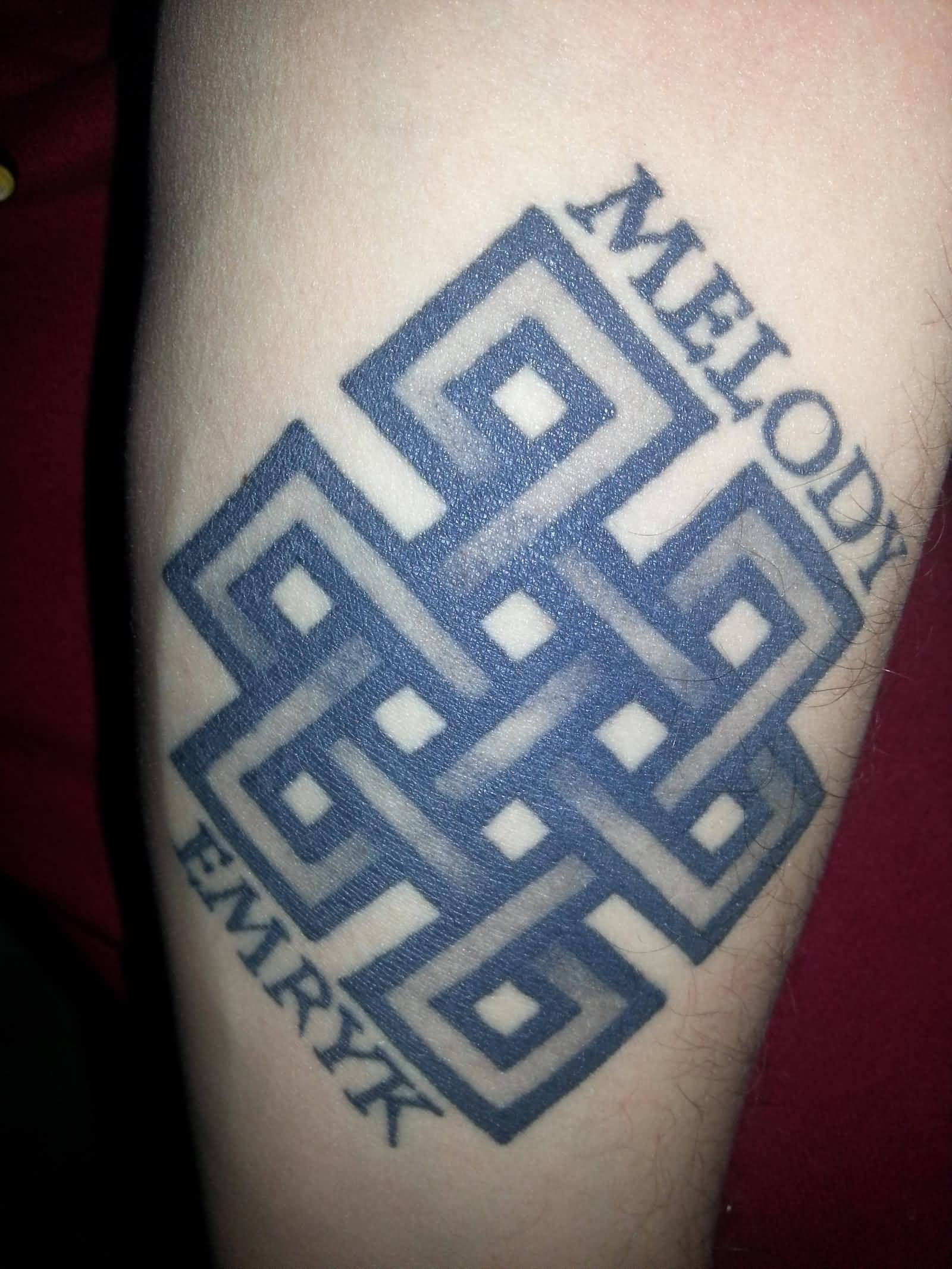 Grey Ink Amazing Endless Knot Tattoo Design Idea With Nice Text