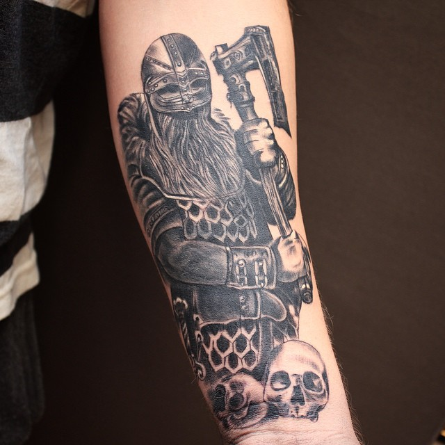 Grey Ink Angry Historical Warrior Tattoo For Sleeve