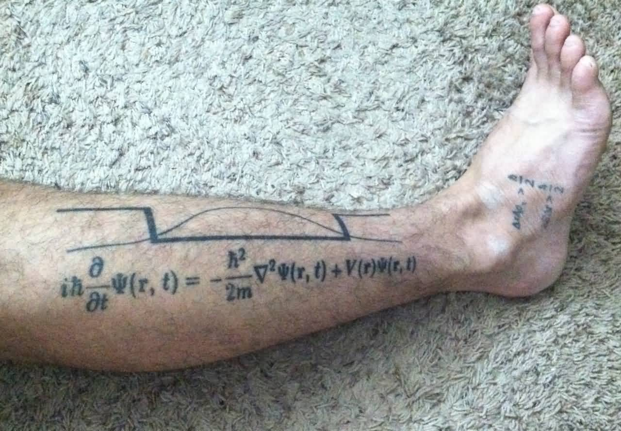Grey Ink Electron-Well With Schrodinger Equation Physics Tattoo On Men Leg