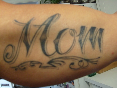 Grey Ink Mom Letters Tattoo Design