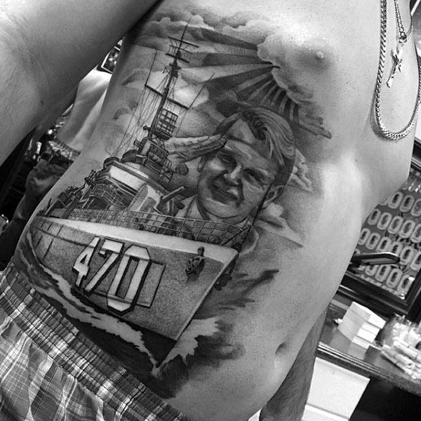 Grey Ink Navy Soldier With Ship Tattoo On Rib Side