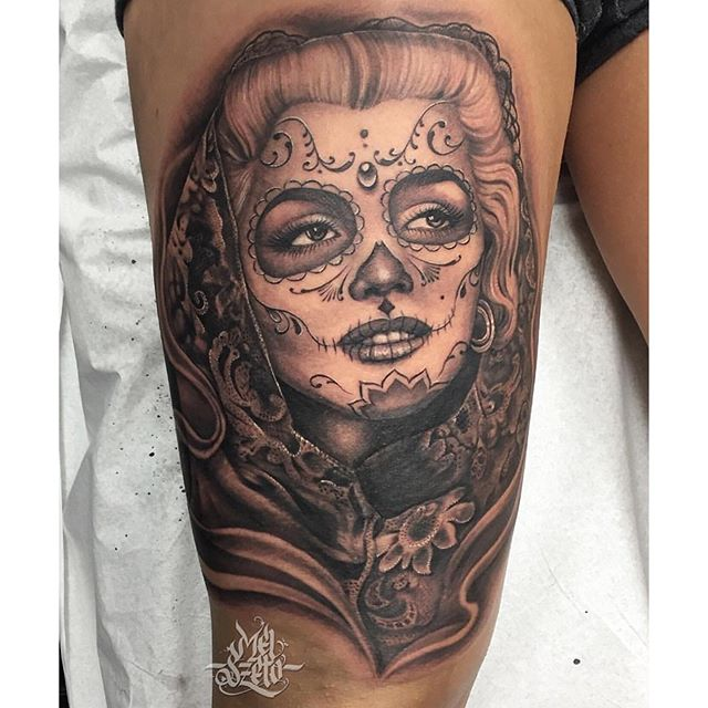 Grey Ink Nice And Amazing Catrina Girl Face Tattoo Design Idea On Thigh