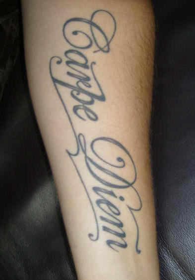 Grey Ink Nice And Amazing Latino Carpe Diem Letter Tattoo