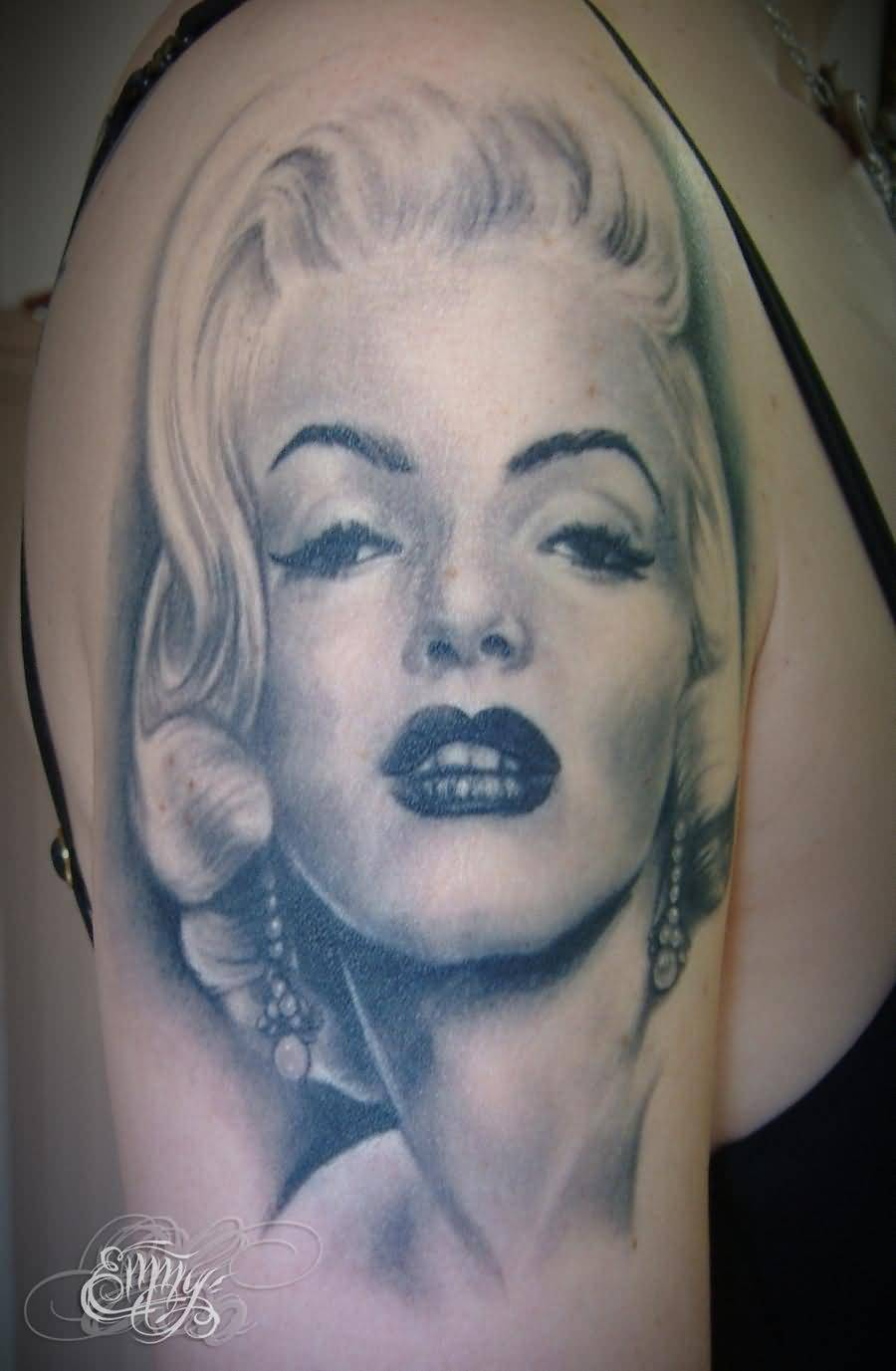 Grey Ink Nice And Awesome Marilyn Monroe Face Tattoo On Girl Half Sleeve