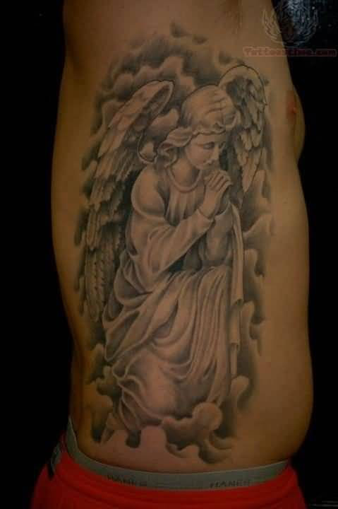 Grey Ink Nice Angel Praying Girl Tattoo Design