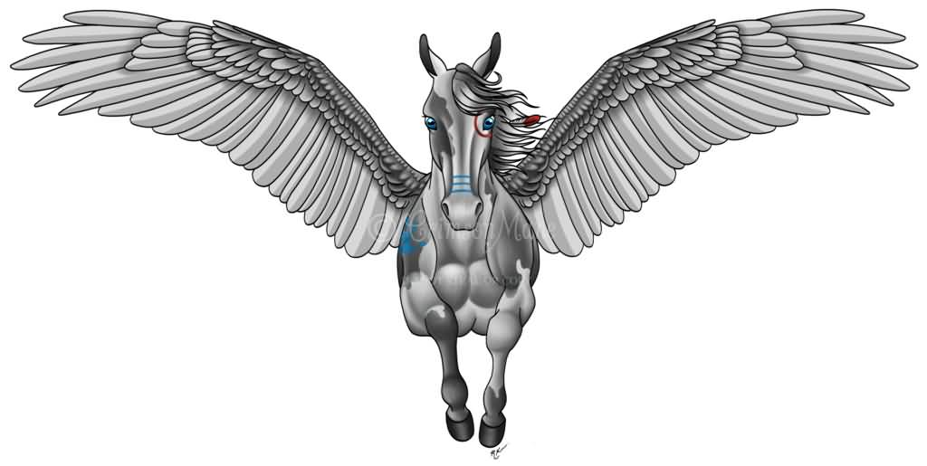 Grey Ink Nice Flying Mood Pegasus Tattoo Design Idea