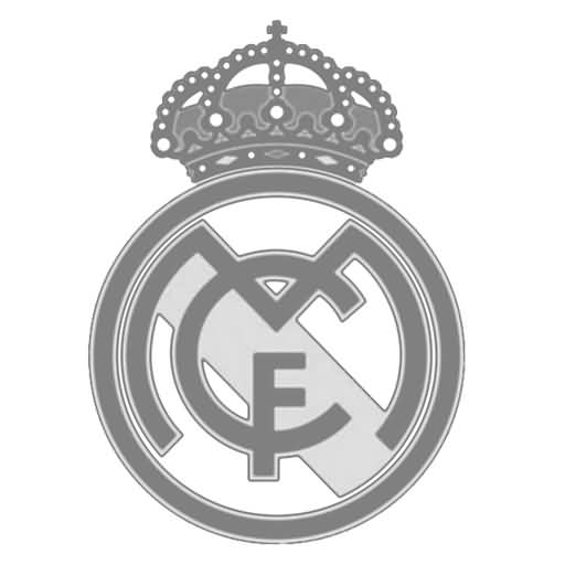 Grey Ink Nice Real Madrid Logo Stencil Tattoo