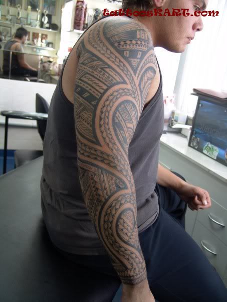 Grey Ink Nice Samoan Tattoo Design